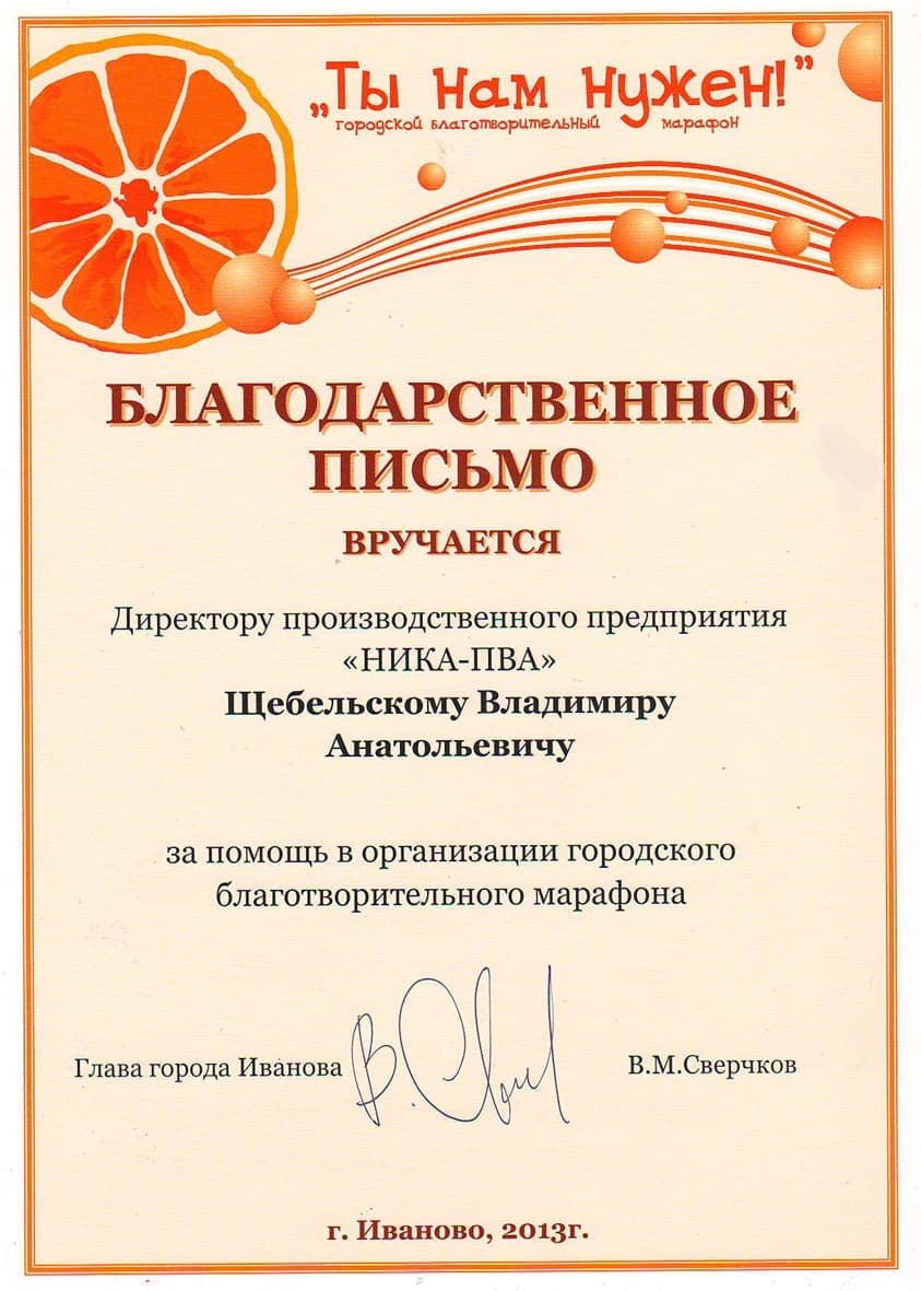 Thank you letter for your help in organizing the charity marathon «We need you!»